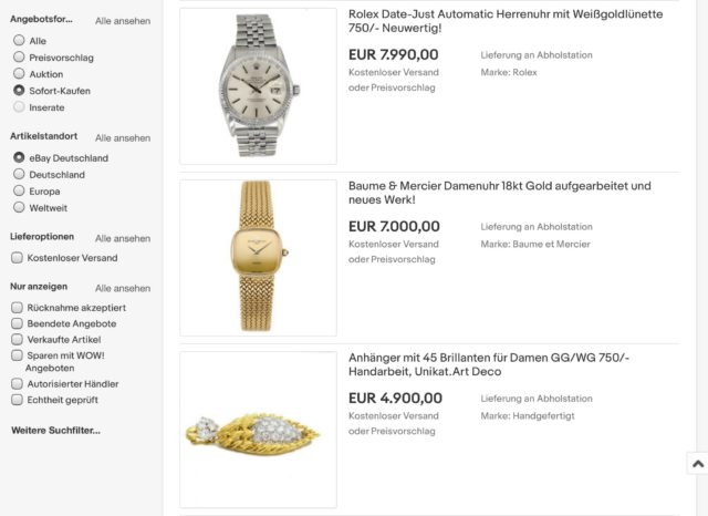 Uhren und Schmuck gebraucht auf Ebay